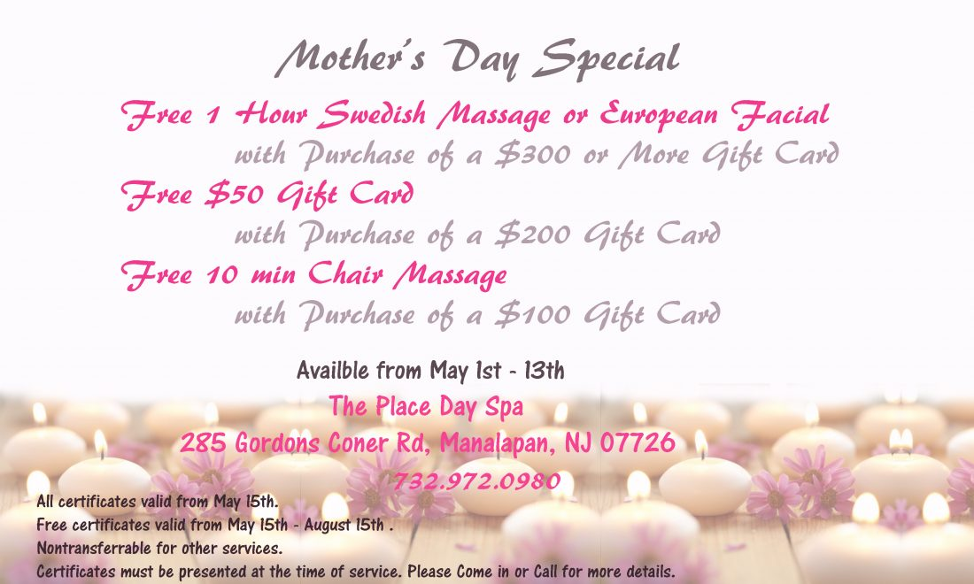 The place nail day spa mothers day gift card promotion mothers day gift card promotion yadclub Choice Image